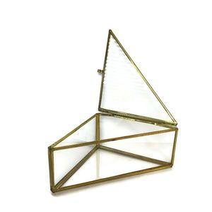 VTG Brass Metal Clear Glass Triangle Geometric box